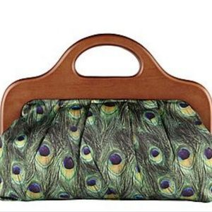 Aldo Clutch Purse with Peacock Feather Print